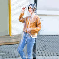 Chubasquero de moda para hombre y mujer, transparente, eva, transparente, a la moda, con capucha, Impermeable, para viajes al aire libre