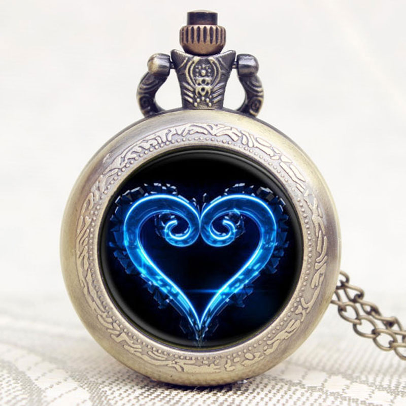 Small Cute Bronze Pendant Chain Clock Pocket Watch Kingdom Hearts Quartz Pocket Watch Unisex Gifts Relogio Feminino