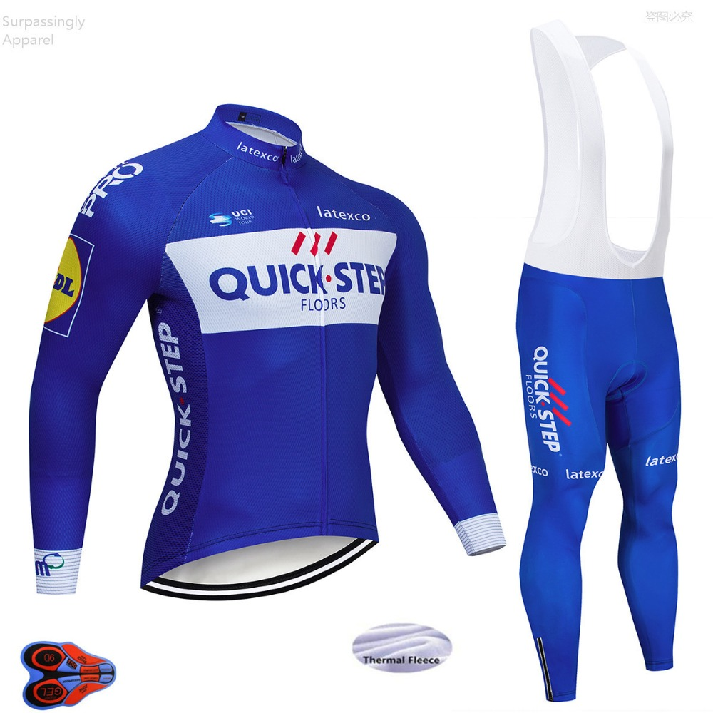 Quick Step Cycling Jersey Winter Thermal Fleece Long Sleeve 9D Gel Pad Pants Ropa Ciclismo Bicycle