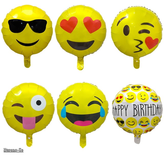 50pcs Lot 18inches Expression Emoji Foil Balloons For Birthday Party Emoticons Wedding Decoration Cartoon Inflatable