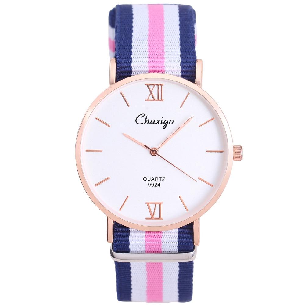 Chaxigo Brand Unisex Popular Elegant Simple Design Colorful Nylon Strap Watch Daniel Fashion Casual Style Quartz Wristwatch