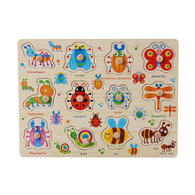 Juguetes para bebés Puzzle Hand Grab Board Set Educativos Juguetes de madera para niños Montessori Animal Fruit Vegetables Puzzle CL0146H