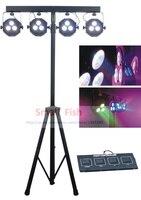 Free Shipping Led Flat Slim Par kit High Power 4pcs 3x15W 5in1 RGBWA Mini Laser Stage DJ Disco Sound Strobe DMX Party Lights