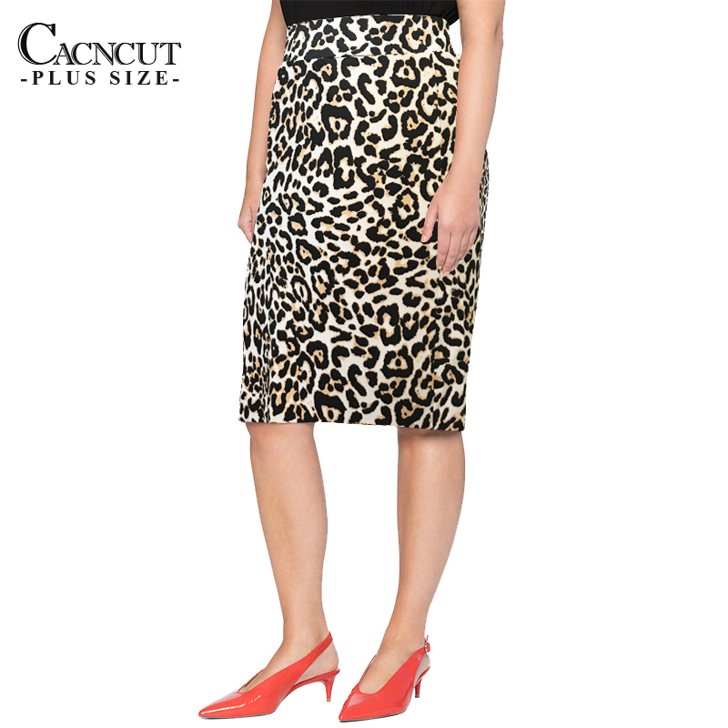 CACNCUT 4XL 5XL 2019 Plus Size Summer Women Skirts Casual Leopard Print Bodycon Skirt Big Large Size Ladies Office Pencil Skirts