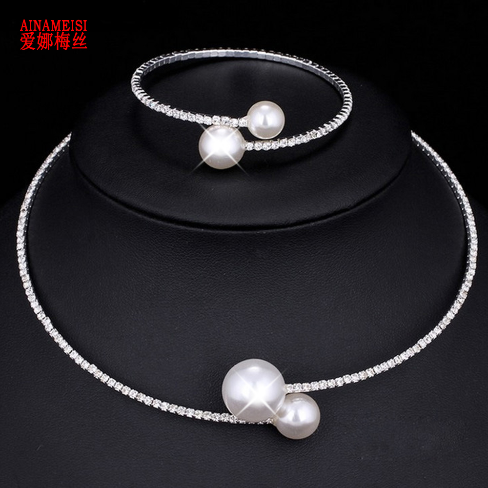 AINAMEISI Fashion Simple Simulated Pearl Bridal Jewelry Sets Adjustable Necklace Bracelet For Women Crystal Wedding Jewelry Gift
