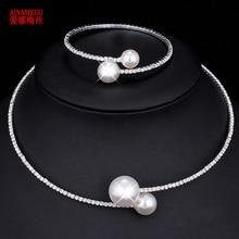 AINAMEISI Fashion Simple Simulated Pearl Bridal Jewelry
