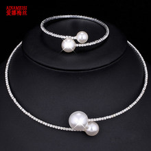 AINAMEISI Fashion Simple Simulated Pearl Bridal Jewelry sets Adjustable Necklace Bracelet For Women Crystal Wedding Jewelry Gift(China)