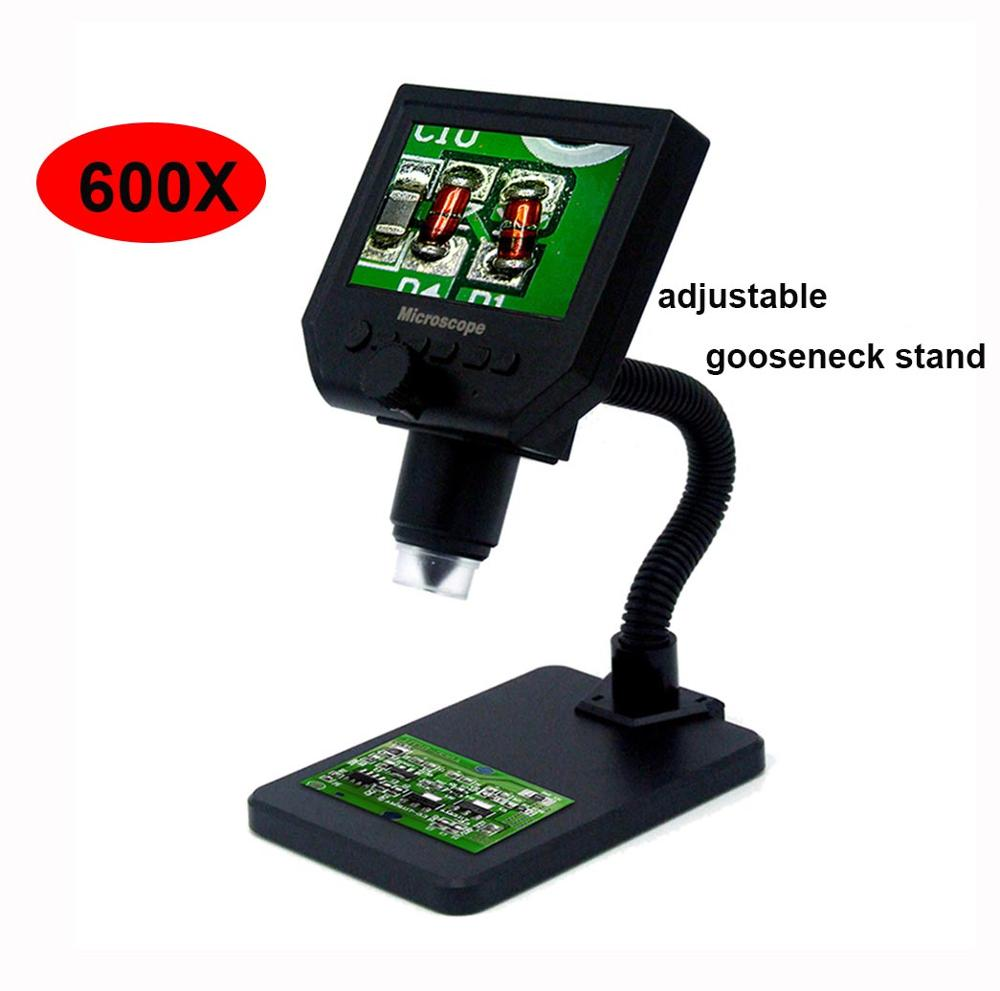 600X цифровой микроскоп электронный видео микроскоп 4,3 дюймов HD lcd паяльный микроскоп телефон Ремонт лупа+ металлическая подставка - Цвет: Gooseneck style