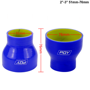 """Image 3 - BLUE & Yellow 2"""" 2.5 2 3 2.48 2.75 2.48 3 2.75 3 3 4 SILICONE HOSE STRAIGHT REDUCER JOINER COUPLING"""