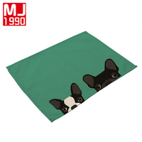 100% Cotton Linen Napkin Place Mat Creative Animal Cute Cartoon Dog Printed Creative Placemats Kitchen Table Cup Western mat 4PC