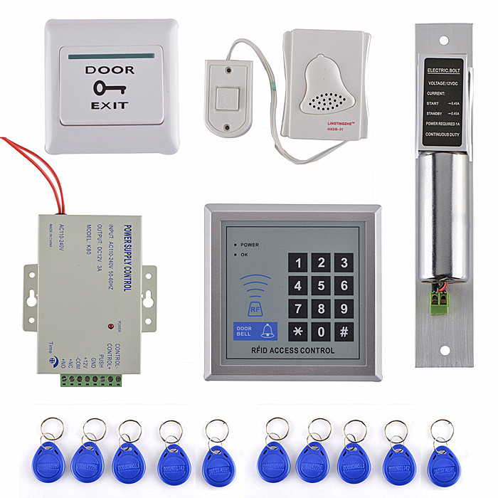 Home Security Diy Full Complete Rfid Door Lock Access Control Keypad Kit +Electric Bolt Lock+Power+Door Bell цена