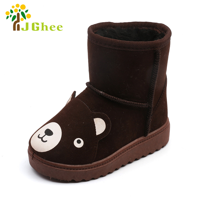 J Ghee Unisex Snow Boots For Boys Girls Fashion Cute Cartoon Animal Kids Winter Shoes Children Cotton Shoes Thicken Warm Boots