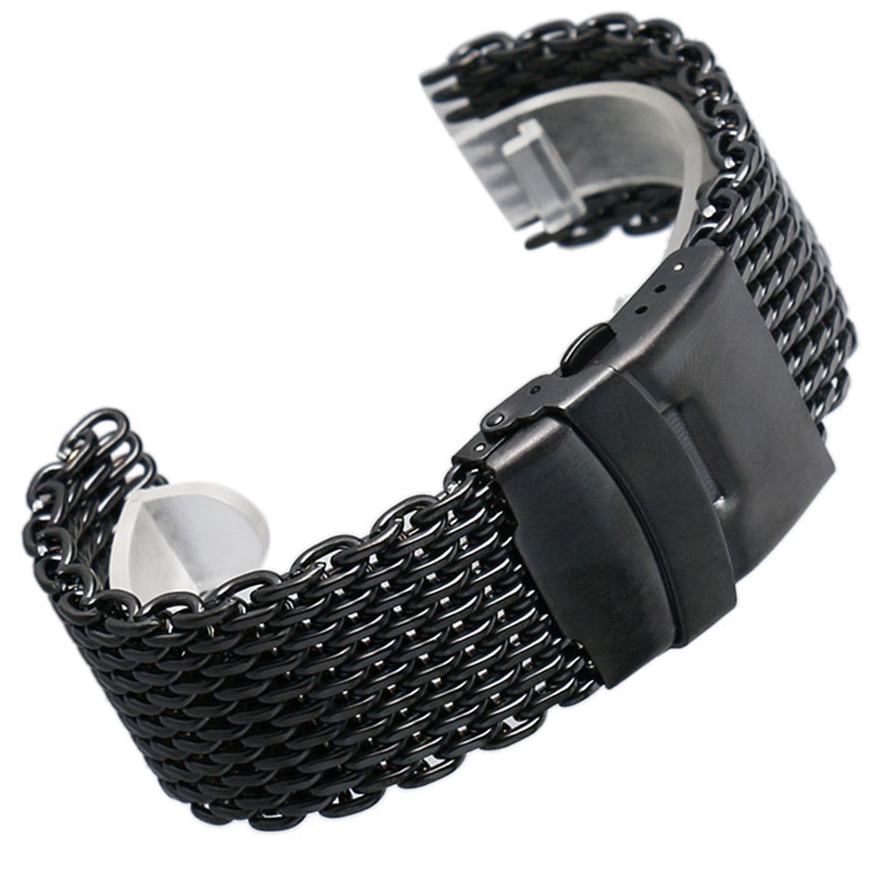 <font><b>Moto</b></font> <font><b>360</b></font> Black 22mm <font><b>Band</b></font> Width Mesh Web Wrist Watch <font><b>Band</b></font> Strap Bracelet Mens Womens Fold over clasp with safety and push button image