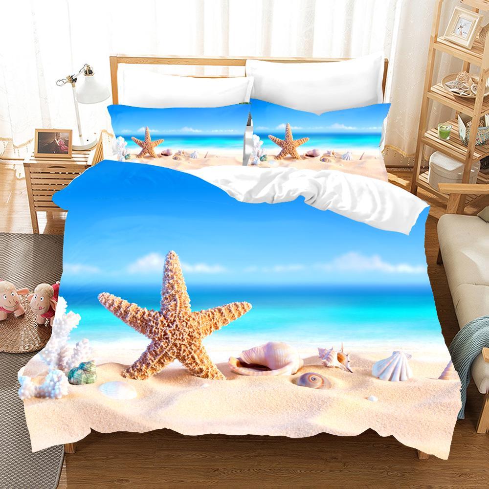 Набор постельного белья с 3d принтом, крутой летний комплект постельного белья с изображением морской звезды, пляжный отдых, волна, закат, друзья, подарок, пододеяльник, набор домашнего текстиля. - 3