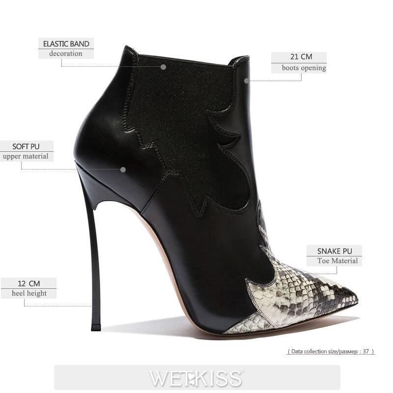Femmes Courte 12 Serpent Noir Chaussures Pointu Wetkiss Talons Bout 2018 Cm Cheville Peluche Haute Dames Occident Mince Bottes Chaussons Chaud zpjUVGLqMS