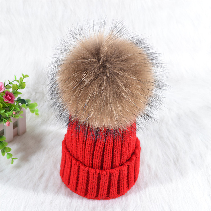 Real Raccoon Fur Winter Hat For Women Lady Girls Solid Thick Knitting Wool Cotton Warm Fashion Cap Big hair ball Beanie Skullies cute cartoon bear ms qiu dong the day man with thick warm knitting wool hat sets pointed cap