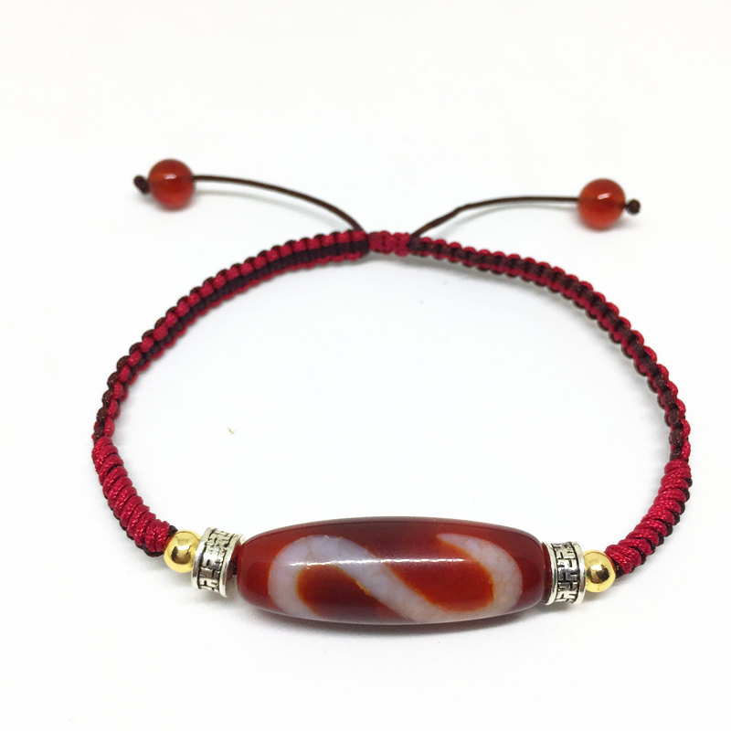 Handmade Ajustable Bracelet Agate Money Hook Tibetan Dzi Bead Amulet Good Luck Red Color High Quality