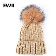 Новая мода трикотажные мех енота мяч женщины beanie девушки осень повседневная cap женская шляпы мужская теплые зимние шапки