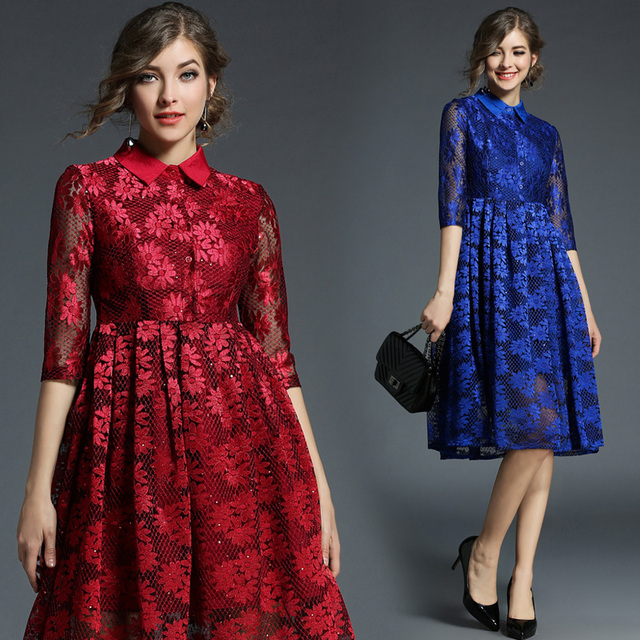 58378150140c7 2018 New Spring Autumn Fashion Women's Clothing Europe Style Turn-down Vintage  Dress Patchwork Lace A-line Dresses Female