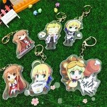 6pcs/set Anime Keychain Fate/Grand Saber SAO Yuuki Asuna Cute Anime Characters kulcstarto Keychian Phone Strap Pendant llavero