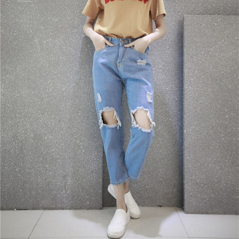 2017 Summer Vintage Women Ripped Hole Denim Ankle-Length Pants Loose Casual Fashionable Jeans Harem Trousers All Match Clothes summer casual women jeans high waist big hole ankle length ripped loose straight pants women denim trousers edge curl vintage