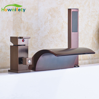 Deck Mounted Red Oil Rubbed Broze Bathtub Faucet Waterfall Spout Single Handles Mixer Tap with Hand Sprayer