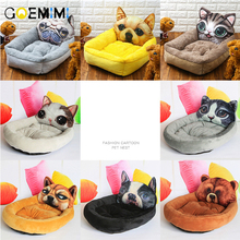 Cute Cartoon Pet Cat Dog Bed Mat Winter Cozy Warm Soft Fleece Cushion Kennel For Small Puppy Dogs Funny Houses