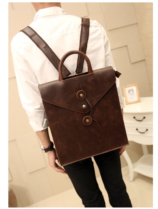 Trendy Men Crazy-horse Leather Envlope Backpack Travel Bags Male College School Laptop Bags Rucksack Mochila Masculina