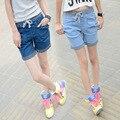 2016 новые джинсовые шорты женщин летом Колледж Ветер Высокая Талия женщины Синий эластичный пояс гарем Плюс размер Леди джинсы Шорты Z2173