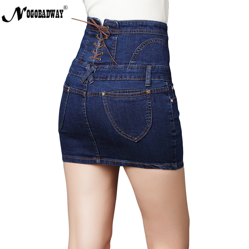 6f59a25d202 High waist button mini denim skirts womens 2018 lace up ladies casual slim  short skinny jeans skirt plus size black blue bottoms-in Skirts from  Women s ...