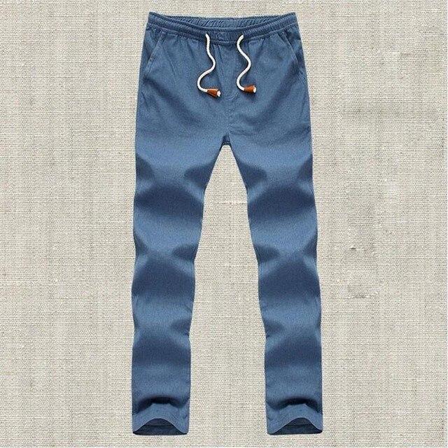 2016 Nueva Llegada Del Verano de La Manera Hombres Pantalones de Lino Pantalones Bragas Ocasionales de Los Hombres de Algodón Transpirable Para Hombre Sólido Más Tamaño Pantalones Masculinos