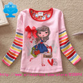 flags brand 2014 new kid roupa infantil t-shirt baby girls lace print cartoon t shirt long sleeve child clothes wear top G633#