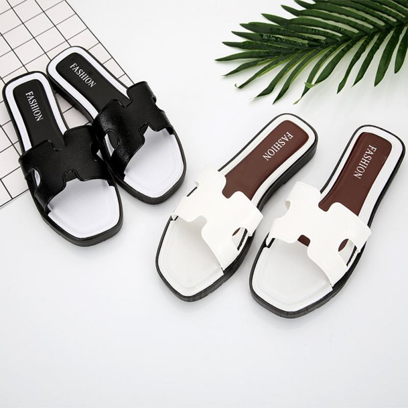 Women Summer Leather Flat Bottom Wild Fashion Casual Sandals Outdoor H Word Slippers цена 2017
