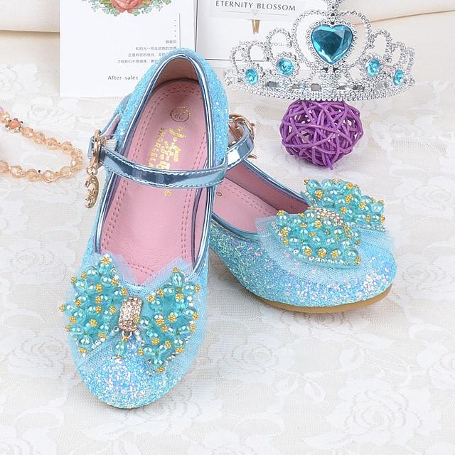 qloblo Kids Leather Shoes Girls High Heel Shoes Beaded Bowtie Elegant Dress Shoes  Princess Dance Sandals for Autumn Spring 71c61b25dc57