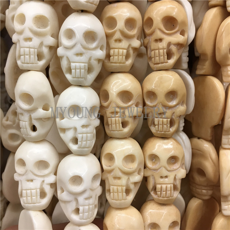 MY0763 30x20mm perles d'os sculpté crâne, perles percées en forme de tête de crâne, perles d'os de boeuf 15