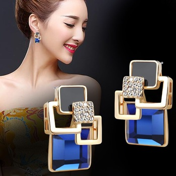 Hot Fashion Vintage Long Square Crystal Stud Earring Big Geometric Classic Gold-Color Fine Jewelry