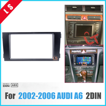 2 DIN Black Double Din Car Radio Fascia for 2002-2006 Audi A6 Panel Adaptor DVD Frame Dash Installation Kit , 2din 11 297 2 din car radio stereo fascia panel frame dvd dash installation kit for renault duster 2010 logan 2013 sandero 2012