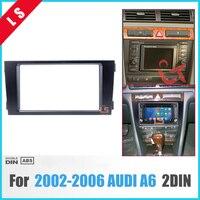 2 DIN Black Double Din Car Radio Fascia for 2002 2006 Audi A6 Panel Adaptor DVD Frame Dash Installation Kit , 2din