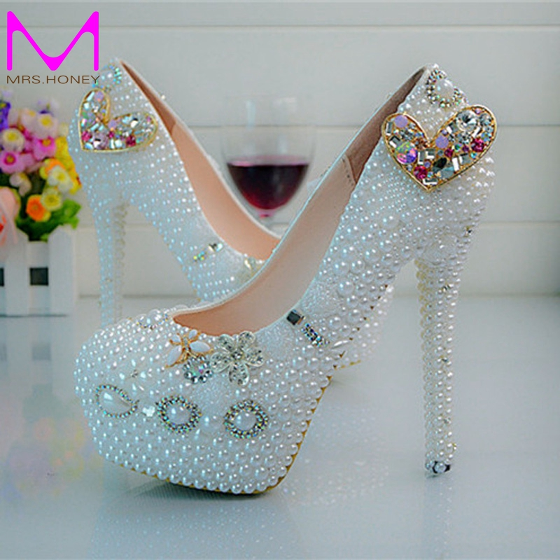 ФОТО Heart Rhinestone Wedding Bride Shoes Plus Size White Pearl Platform Party Prom Shoes Handmade Women Dress Shoes Size 44