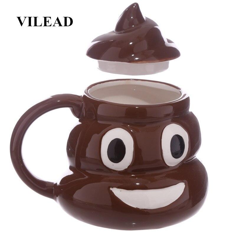 VILEAD divertido caca Taza de cerámica de dibujos animados Smiley leche de café de porcelana taza de agua con empuñadura tapa taza de té Oficina Vasos