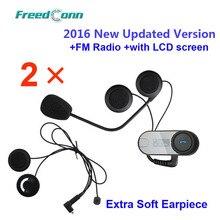 Envío libre!! 2x FreedConn TCOM-SC W/Pantalla Bluetooth Motocicleta Intercomunicador Del Casco de Auriculares con radio FM + Auricular Suave