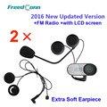 Frete grátis!! 2x FreedConn TCOM-SC W/Tela Bluetooth Capacete Da Motocicleta Intercom Headset com rádio FM + Fone de Ouvido Macio