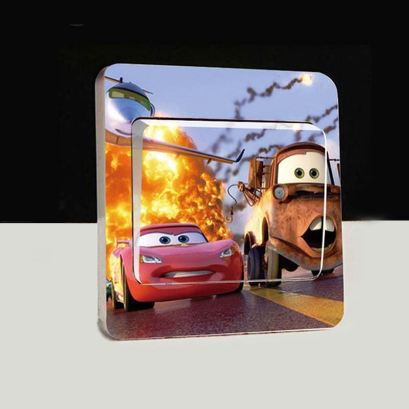 1 pcs Light Switch Stickers Nice car Home Decoration Accessories Wall Stickers For Kids Rooms Border Tiles For Bathrooms