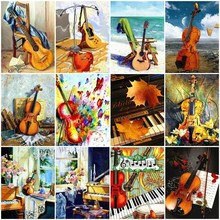Huacan Diamond Mosaic Violin 5D Painting Full Square Piano Rhinestone Picture Embroidery Sale Home Decor Drop Ship