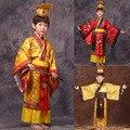 Criança hanfu tradicional chinesa dress homens meninos imperador rei estágio roupas trajes cosplay tang terno crianças robe vermelho + chapéu conjuntos