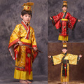 child chinese traditional hanfu dress men boys emperor king Stage red Clothing cosplay costumes tang suit kids robe+hat sets