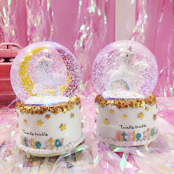 Unicorn Crystal Musical Snow Globe