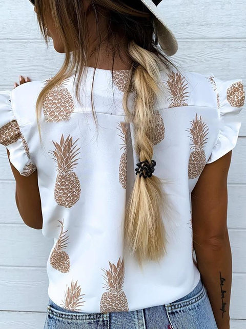 2019 Summer Women Elegant Vacation Leisure Top Female Holiday Girls Sweet Shirt Pineapple Print Flutter Sleeve Casual Blouse 15