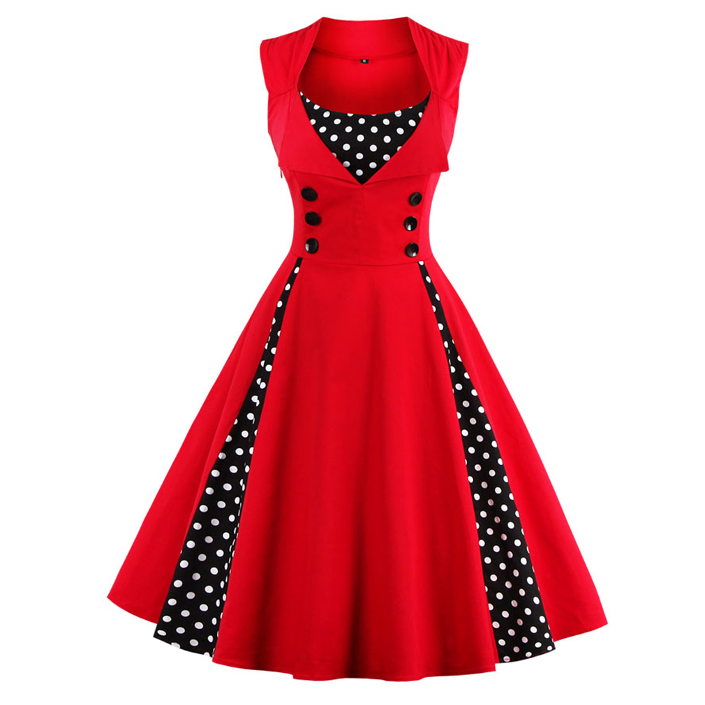 Women 5XL New 50s 60s Retro Vintage Dress Polka Dot Patchwork Ermeløs Vårsommer Rød Kjole Rockabilly Swing Party Kjole