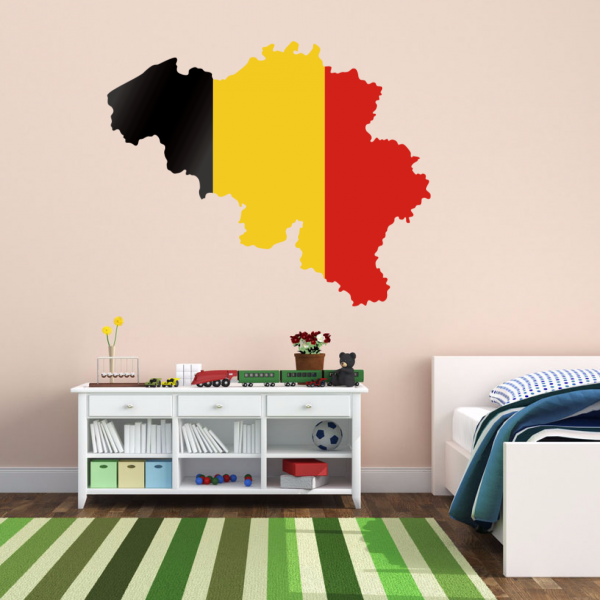 Vlajka Mapa Belgie Wall Vinyl Sticker Custom Home Decor Wedding PVC Wallpaper Obývací pokoj Decor